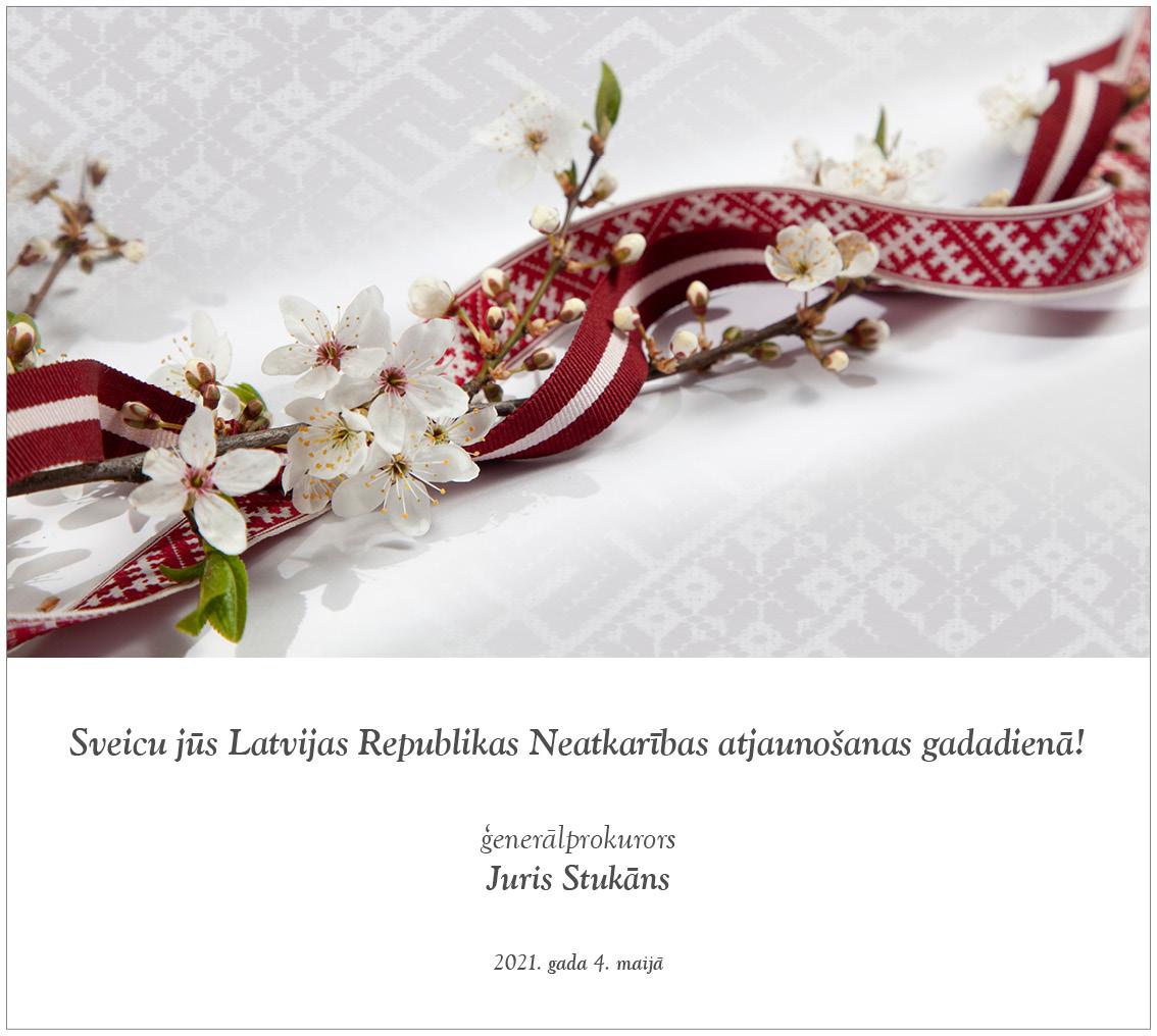 Ģenerālprokurora Jura Stukāna sveiciens Latvijas Republikas Neatkarības atjaunošanas gadadienā